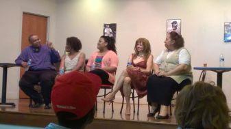 STRUTT REGULARS talkback L-R Truman Winbush, Jr., Chiqita Mullins Lee, Keya Chanel Crenshaw, Suzanne Parks, Patricia Wallace-Winbush